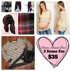 Fits Size 4/6.Only 1⃣available!!    Box includes: Multiplaid blanket scarf, khaki crochet top, and gray/white sweater (feels like a comfy sweatshirt). All three items only $35!!        FREE US Shipping!!💕 | Shop this product here: http://spreesy.com/theglamshackboutique/465 | Shop all of our products at http://spreesy.com/theglamshackboutique    | Pinterest selling powered by Spreesy.com