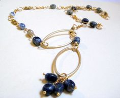 Blue Sodalite and Brushed Gold Chain Link Lariat