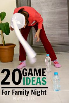 20 Family Game Night Ideas I have only seen a couple of these but so far these would really tickle the kids funny bones. Pinning to look at the rest later. 20 Ideas for a fun family game night. Almost no preparation needed. Family Fun Games, Family Fun Night, Family Activities, Family Family, Family Reunions, Funny Games For Kids, Family Games Indoor, Family Reunion Games, Christmas Family Games