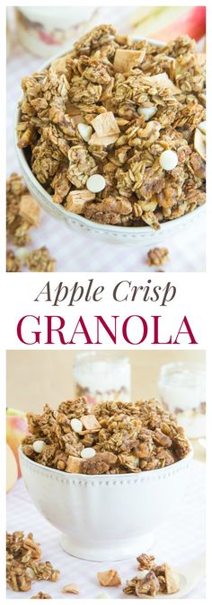 Apple Crisp Granola - a sweet and nutty granola recipe with apple cinnamon flavor and tons of crunch! | cupcakesandkalechips.com | gluten free