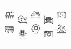 35 Black and White Travel and Tourism Icons
