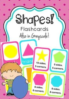 SHAPES - Flashcards. Bright and colorful flashcards to teach kids about shapes.