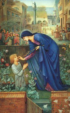 Saint Itta (mother of St. Gertrude of Nivelles, patron saint of cats & gardeners) painting by Edward Burne-Jones.jpg