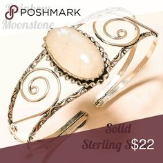 🎁SALE Sterling Silver Moonstone Cuff Bracelet 🎁I'm currently running an additional sale. See listing at the top of my closet for details and end date.🎁   Reduced! PRICE FIRM unless bundling!   This bracelet is new. It's solid sterling silver w/a genuine Rainbow Opal stone. The bracelet is adjustable (VERY bendable) & will fit large wrists. Small wrists will be fine, but may need to overlap in the back. That's how I wear mine. It's stamped 925. Please ask if you need more pics.  ⚠ Read 1st…