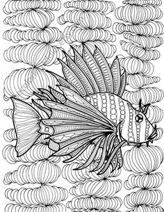 Zentangle Fish Adult Coloring Page Sheet Colouring Book Printable Digital