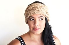 cable knit turban inspired headband by theLOVEstitch