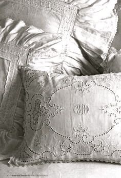 white embroidered pillows