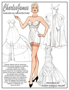 Charles James Fashions Paper Doll by PaperDollsbyERMiller on Etsy