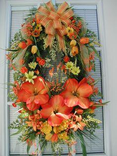 Spring Summer Bright Tangerine Orange Amaryllis Lemon Yellow Oval Door Wall Arrangement Wreath