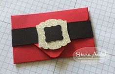 "Here is a cool stocking stuffer idea!!!.........A Santa Gift Card Holder. I so love this idea!! The perfect gift for that person that is hard to shop for. So simple to create using the  Envelope Punch Board. To make this gift card holder, simply use the measurements for the smallest envelope. Instructions are easy to follow and are right on the face of the board.  For the belly band, I cut a strip of Basic Black 8 1/2"" x 3/4"" and wrapped it around the envelope."