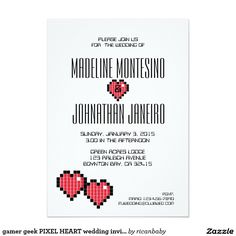 gamer geek PIXEL HEART wedding invitation RED