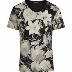 539de514 Black monochrome floral print t-shirt Herren T Shirt, River Island Fashion,  T