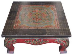 Square Tibetan Lotus Hand Paint Coffee Table Asian Tables