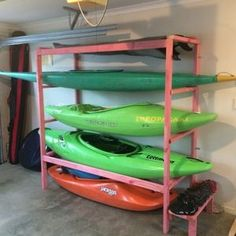Check out this project on RYOBI Nation - My flatmate and I are both really into whitewater kayaking. I've got 2 kayaks: a creek and playboat (a surfboard too) and he has a creek one and a slalom. We moved into a house a single garage and not much space to Kayak Paddle, Canoe And Kayak, Kayak Fishing, Kayak Cart, Saltwater Fishing, Diy Kayak Storage, Surfboard Storage, Garage Organization, Garage Storage
