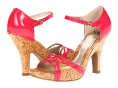 Sofft Valeda Neon Pink Patent Leather/Natural Laminated Cork - 6pm.com