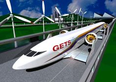 """Japan Unveils Levitating High-Speed Electric Aero Train... Japanese engineers have just unveiled a prototype vehicle that flies rather than rolling. The design is decidedly lower tech than maglev trains — the Aero Train uses wings attached to a fuselage to literally fly inches off the ground. Dubbed a """"ground-effect vehicle"""" the train is designed to be completely powered by wind and solar energy — making this a true zero-carbon transportation system."""
