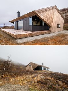Norwegian Cabin Hunches Under a Protective Hood - Designs for your home Tiny House Design, Modern House Design, Residential Architecture, Modern Architecture, A Frame House, House In The Woods, Exterior Design, Building A House, Funky Furniture