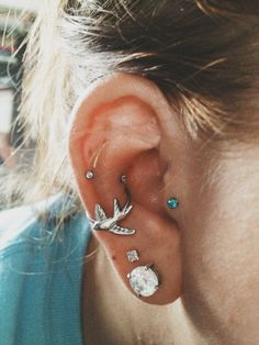 Tragus, conch, snug and lobe piercings