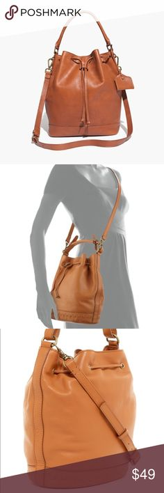 NWOT Kelsi Dagger Dusen Bucket Bag in Cognac New without tags. In perfect condition!  Bucket bag with drawstring closure. Long strap to wear as crossbody bag and short handle to carry like a regular purse. Kelsi Dagger Bags Crossbody Bags