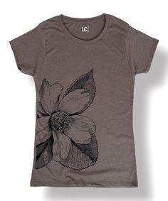 Love this Charcoal Flower Crewneck Tee - Women on #zulily! #zulilyfinds