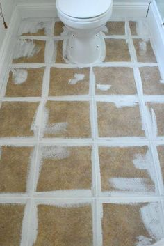 how to stencil a tile floor with chalk paint to get the look of Moroccan tile - Painted Floor Tile Painting Ceramic Tile Floor, Stenciled Tile Floor, Painting Bathroom Tiles, Painting Tile Floors, Bathroom Floor Tiles, Paint Floor Tiles, Stick On Tiles Bathroom, Tile Over Tile, Moroccan Tile Bathroom