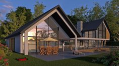 Achtergevel van glas. Goed idee ook om dak te laten oversteken voor overdekt zitten.