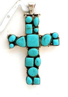 Sale Sterling Silver Turquoise Cross by TheJewelryLadysStore