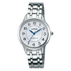 Lorus Dameshorloge RG251JX9. Dit degelijke Lorus horloge heeft een zilverkleurige band van 13 mm. U mag er mee douchen want het horloge is 50 meter waterdicht. Een duidelijk en degelijk horloge.