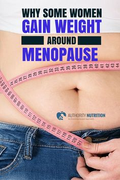 Many women gain weight before, during and after menopause. This is largely mediated by hormones and other biological factors. Learn more here: https://authoritynutrition.com/menopause-weight-gain/