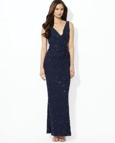 Lauren Ralph Lauren Sequin Lace Gown | Bloomingdale's $210