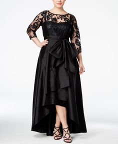 Adrianna Papell Plus Size Illusion Sequined High-Low Gown Women - Dresses - Macy's Plus Size Evening Gown, Plus Size Gowns, Plus Size Outfits, Evening Dresses, Prom Dresses, Formal Dresses, Mom Dress, Dress Up, High Low Gown