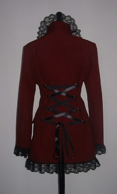 coat jacket burgundy red corset riding jacket goth steampunk victorian, via Etsy.
