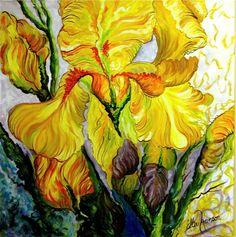 "Yellow Iris:  Acrylic on canvas, 24x24"", (inspired by Bobbie Burgers)"