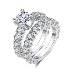 Gorgeous Round Cut White Sapphire Sterling Silver Women's Ring