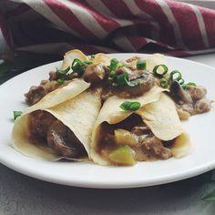 """""""Pannekoek met sampioen vulsel"""" South African style pancakes, or crépes...with a savory mushroom filling."""
