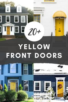 A yellow front door makes for a bright and cheery entrance, packed with personality! These homes include historic, brick, siding, and cottage-style homes, all with yellow front doors. Yellow Front Door Ideas   Mustard Front Door   Yellow Door Brick House   Yellow Door Blue House   Yellow Door Gray House