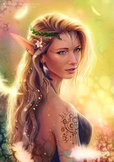 f High Elf Druid Bard multi-class Robes Circlet portrait tattoo female Community lg Elves Fantasy, Fantasy Warrior, Fantasy Girl, Elven Princess, Princess Art, Elfa, Forest Elf, Forest Fairy, Elf Characters