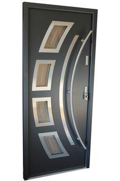 """""""Miami"""" - Stainless Steel Entry Door in Grey Metallic - July 13 2019 at Flush Door Design, Home Door Design, Door Gate Design, Door Design Interior, Main Door Design, Wooden Door Design, Modern Wooden Doors, Contemporary Front Doors, Wood Doors"""