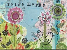 """Postcard """"think happy"""" by Steviewren, for the DIY Postcard Swap 2014 #diypostcardswap #mailart #happiness"""