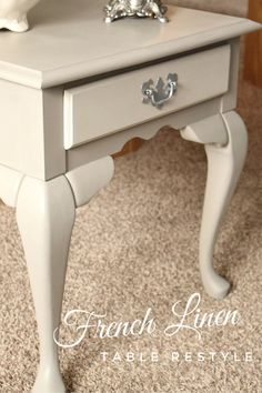 Annie Sloan's French Linen, with a custom color on the drawer. See how to get this look | Timeless Creations, LLC