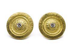 24K Gold White Diamond Droplet Earrings by GURHAN