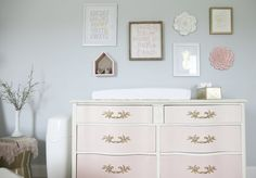 Ombre pink vintage dresser with gold drawer pulls - so chic and girly in a nursery Pink And Gray Nursery, Baby Nursery Neutral, Chic Nursery, Vintage Nursery, Girl Nursery, Nursery Decor, Granny Chic Decor, Modern Baby Bedding, Handmade Baby Quilts