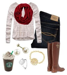 Christmas is coming by preppy-southern-girl on Polyvore featuring Abercrombie & Fitch, Tory Burch and Pandora