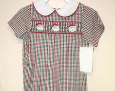 412229-AA137 - Baby Christmas Outfit - Baby boy Clothes - Baby Boy Smocking - Toddler Smock - Baby Clothes - Baby Romper - First Christmas