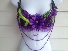 Purple, Green and Black Rave Bra / Costume Bra / EDC Bra
