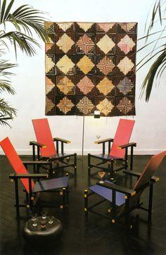 Gerrit Reitveld chairs, 1917, against American patchwork quilt