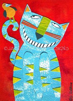 Cat art, Original, 5 x 7, Whimisical, Kids art, Home decor, Collage, Acrylic