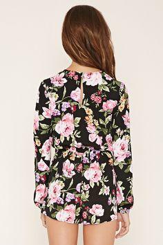 Floral Print Tie-Neck Romper - Forever21