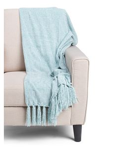 Cece Solid Chenille Fringe Throw