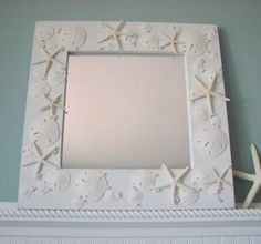 Shell Mirrors for Beach Decor - Seashell Mirror in All White w Starfish, Sand Dollars & Pearls